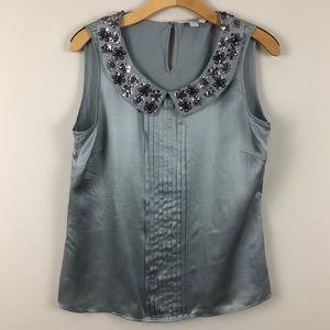 Boden Sequin Embellished Collar Sleeveless Blouse